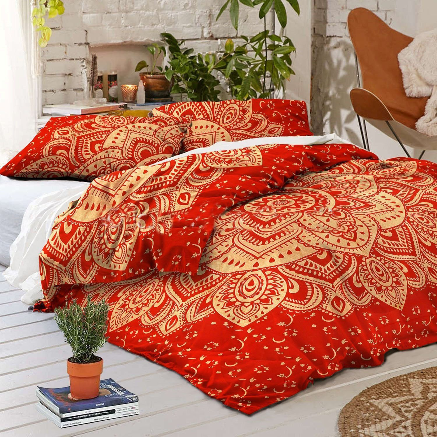 quilt dp bedding paisley com floral garden bedspread bohemian set multi home party queen amazon pieces reversible kitchen dada