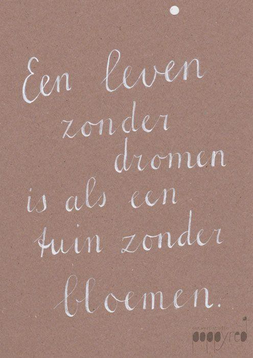 spreuken dromen PoppyRed #dromen #dreams #quote #spreuk #handlettering  spreuken dromen