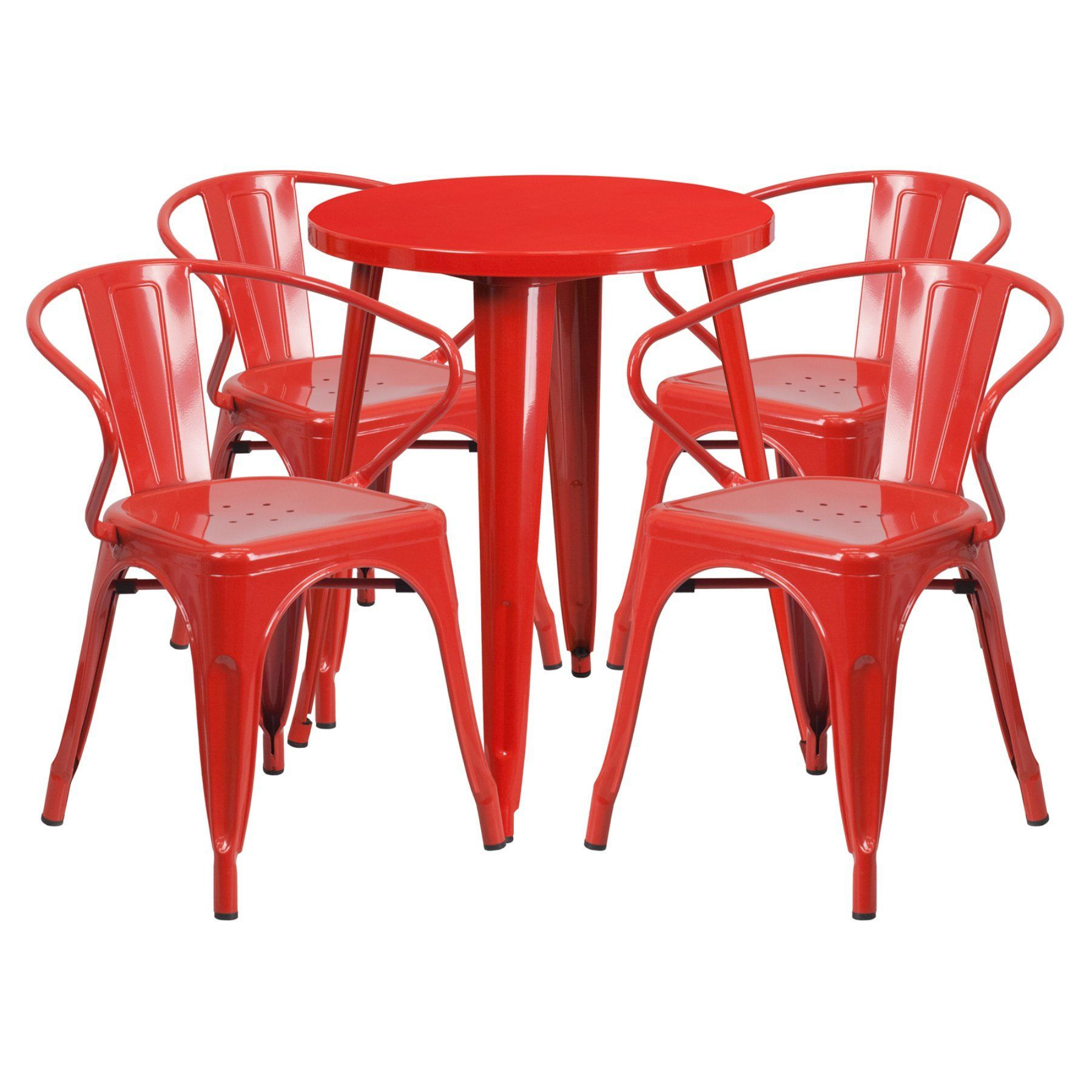Flash Furniture 24 In. Round Metal Indoor-Outdoor Table Set with 4 Splat Back Arm Chairs - CH-51080TH-4-18ARM-RED-GG