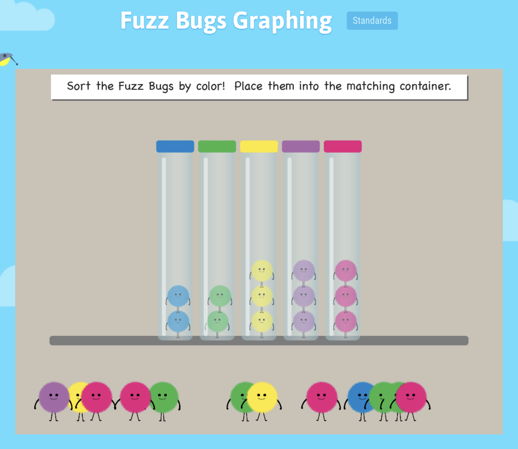 Players Will Create A Bar Graph By Sorting The Fuzz Bugs Into The Matching Color Container