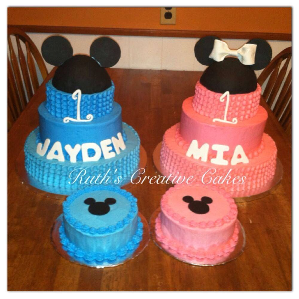 Twins 1st Birthday with matching smash cakes. Ruth\'s Creative Cakes ...