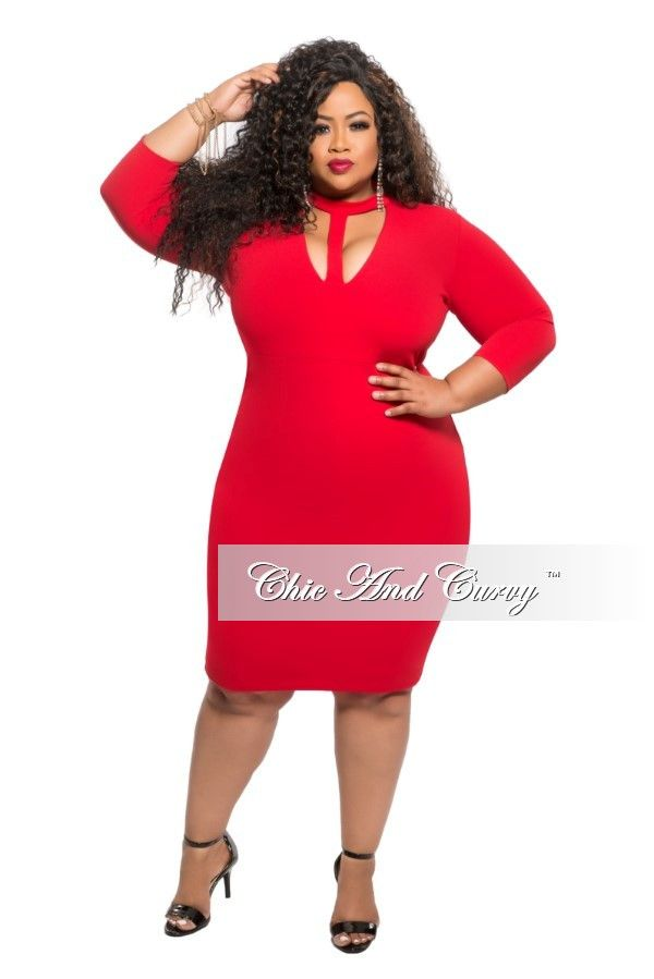 Plus Size Bodycon Dress With Choker In Red Chic And Curvy Chic