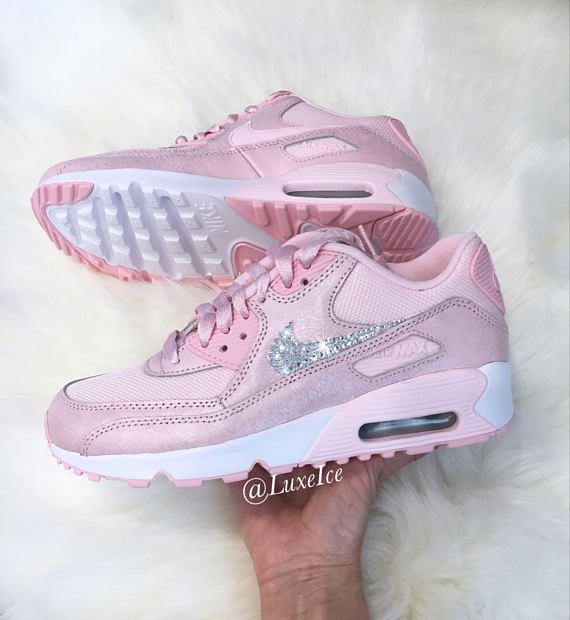 5faa18a44dc3 Nike Air Max 90 Prism Pink White customized with SWAROVSKI®