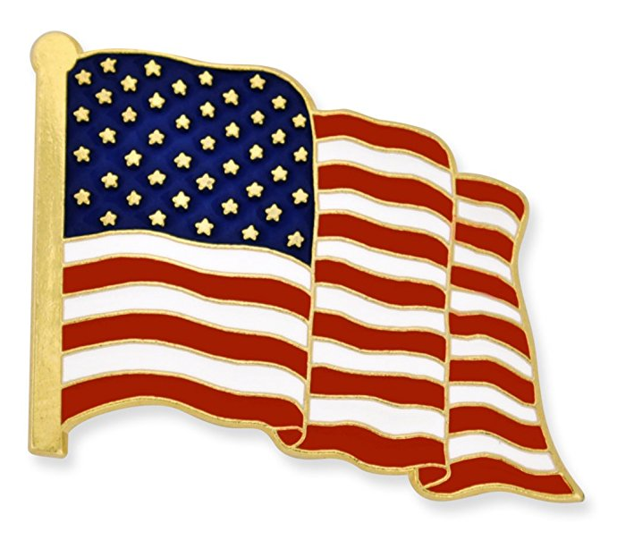 PinMart/'s Made in USA American Flag Jewelry Quality Silver Enamel Lapel Pin