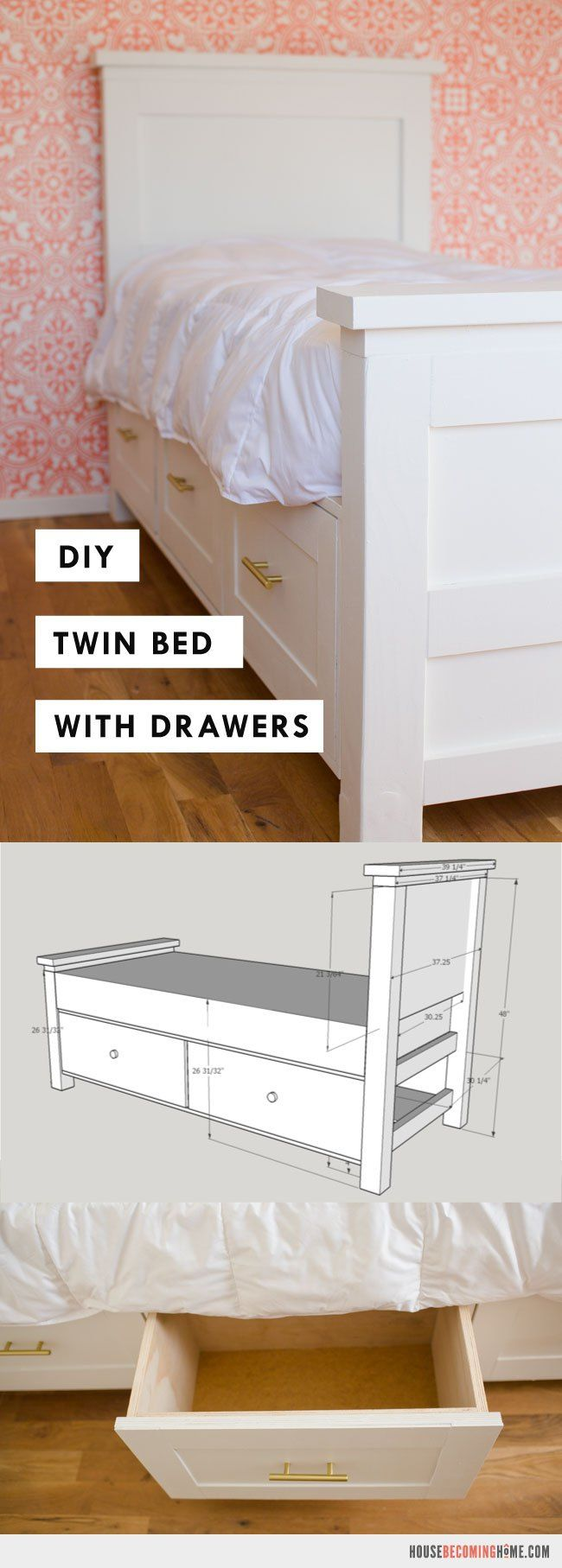 DIY Twin Bed with Storage Drawers images