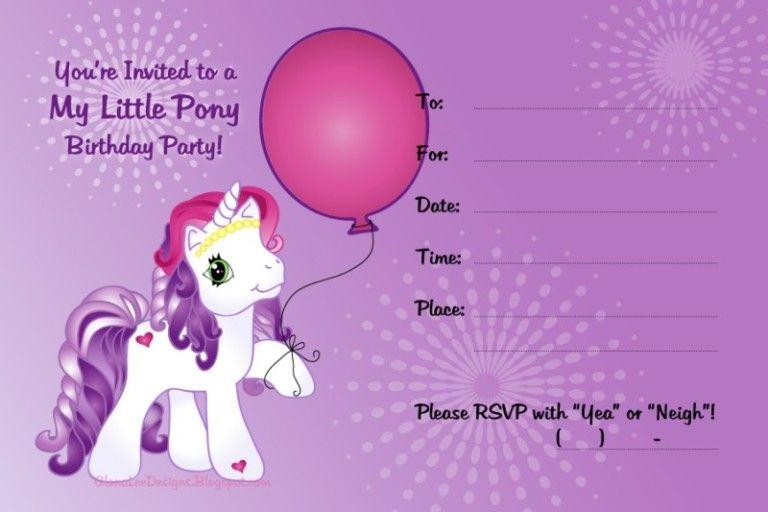 My Little Pony Invitation Sample Krisha S 8th Birthday