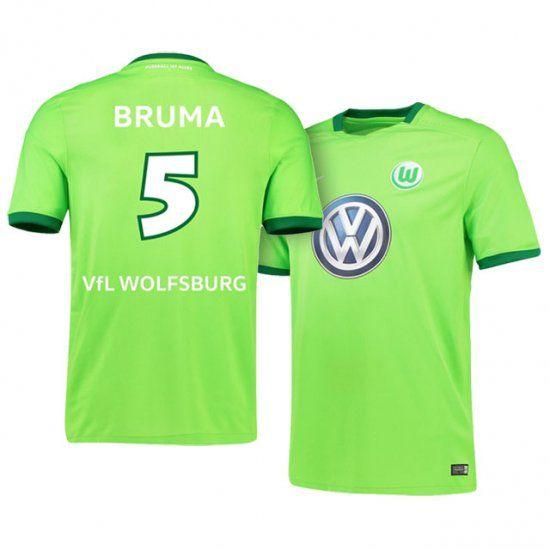 sports shoes a9e7d 6f3d5 VfL Wolfsburg Jersey Home 16-17 Season #5 Bruma Green VfL ...