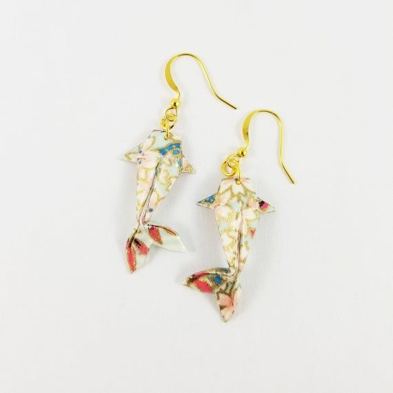 Photo of Floral Koi Fish Earrings,Origami Koi Fish,Koi Fish Jewelry,Paper Anniversary Gifts,First Anniversary Gift,Gift For Her,Koi Fish,Fish Earring