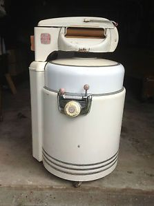 "Photo of VINTAGE WRINGER WASHING MACHINE ""WOMAN'S HELPER"" MAN WOMAN CAVE COOLER 1950's"