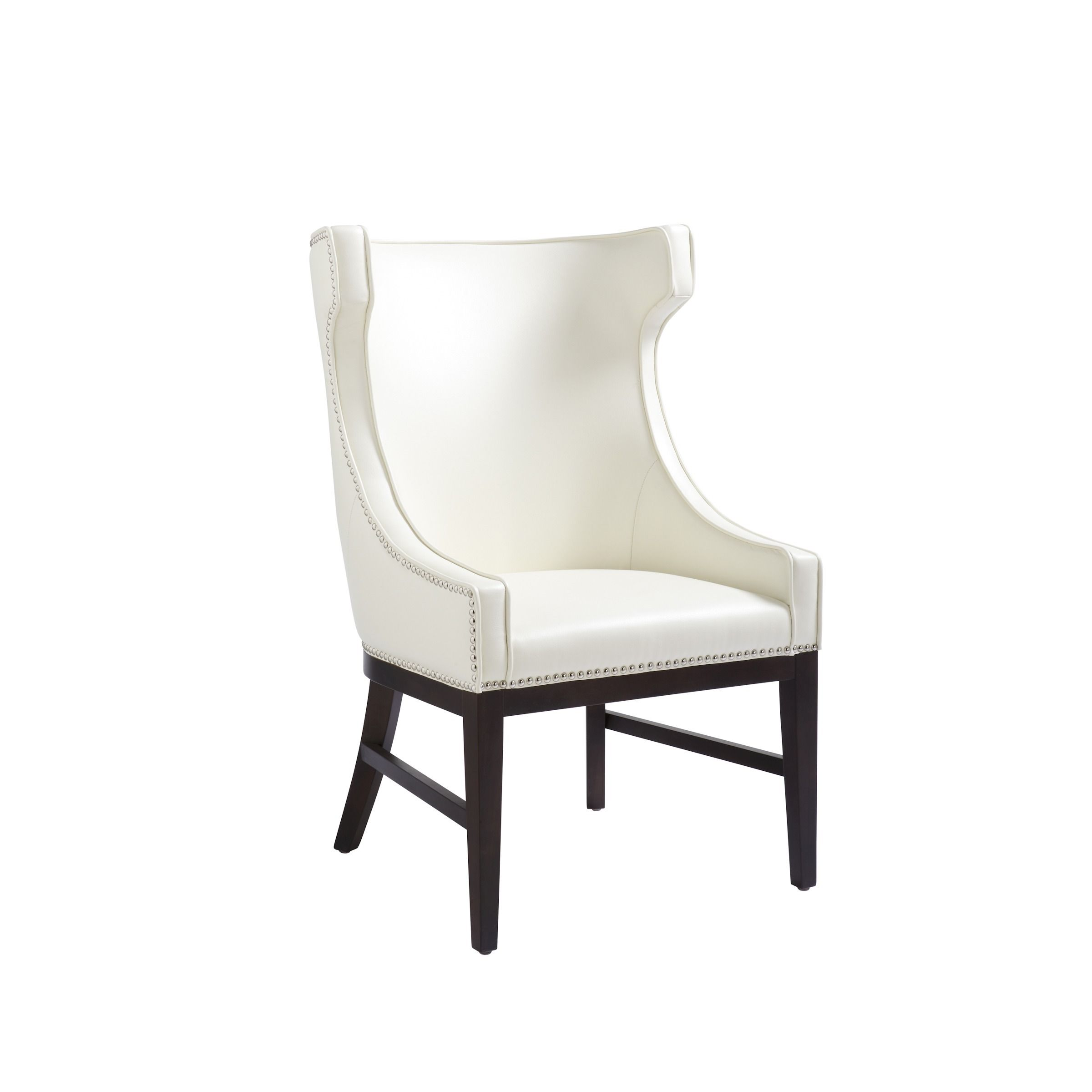 This dramatic bonded leather, high back winged chair can be used as a dining or occasional chair. The piece features silver nail head trimming with an espresso-finished frame and legs.