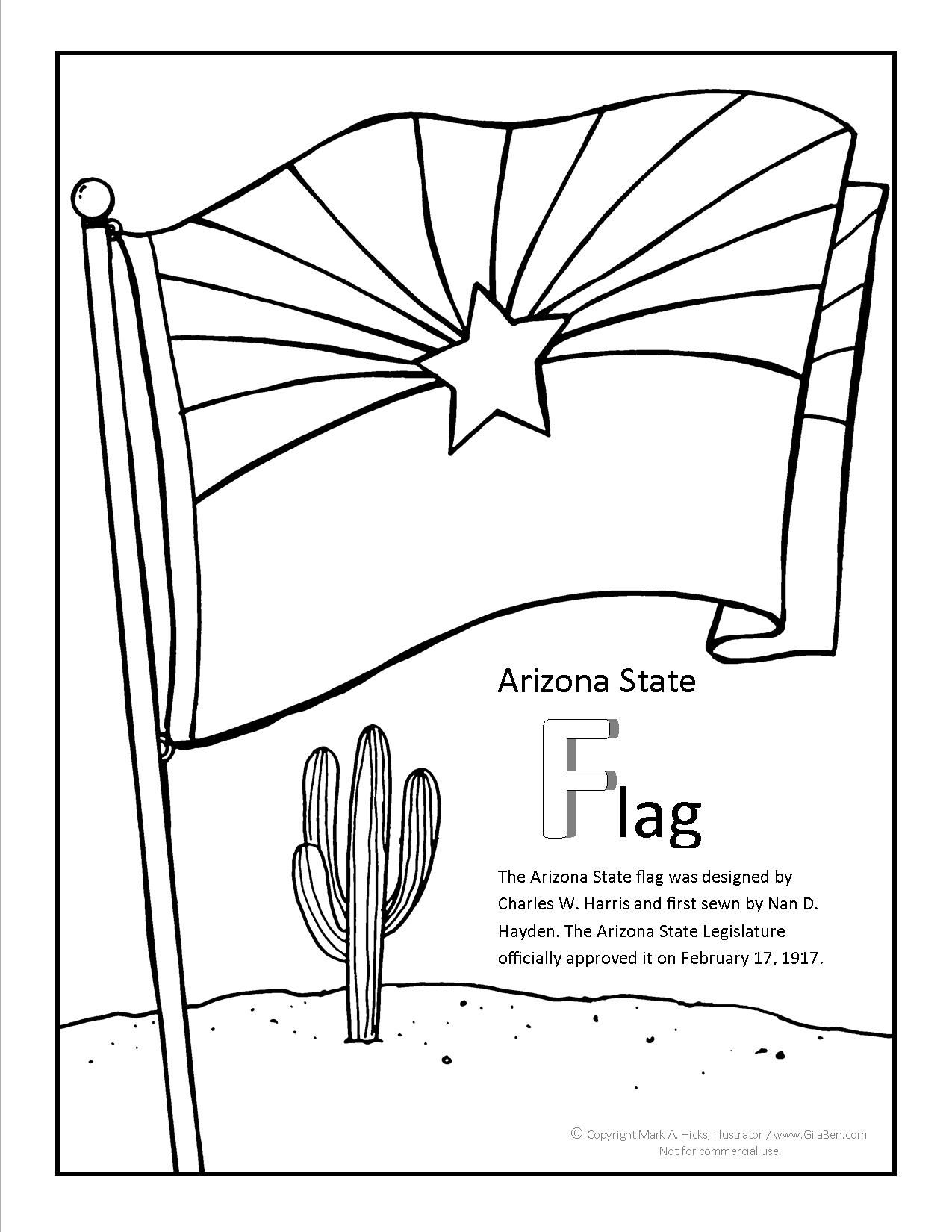 arizona coloring pages to download or print the arizona flag