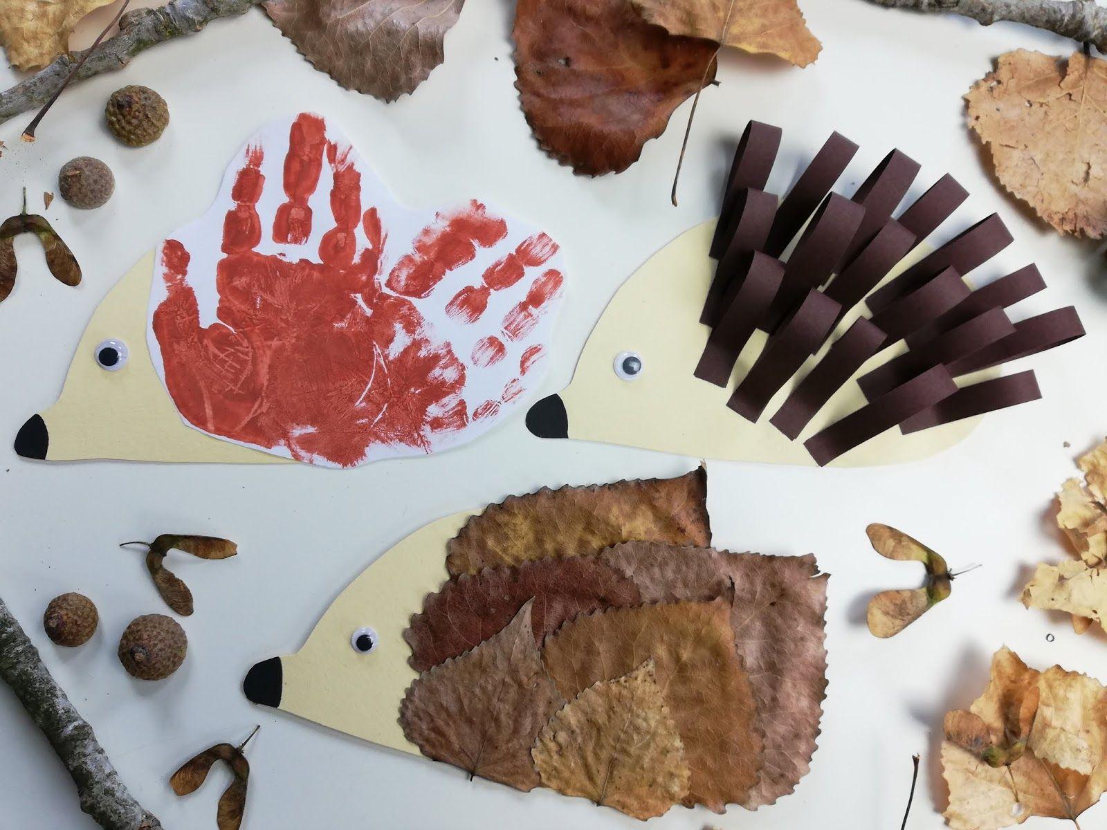 Herbstzeit mit Kindern: Igel basteln – 1 Vorlage 3 Ideen