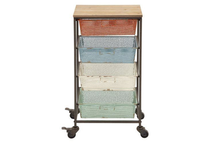 This iron storage cart adds a colorful touch of industrial charm to any space. Better yet? It boasts plenty of room to store towels, shoes, toys, and more.