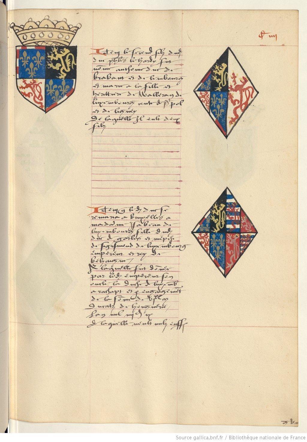 Coat of arms of Anthony, Duke of Brabant, Lothier and Limburg and of Jeanne de St. Pol and Elisabeth of Görlitz, Duchess of Luxembourg. Receuil de la généalogie de la noble maison de Luxembourg.