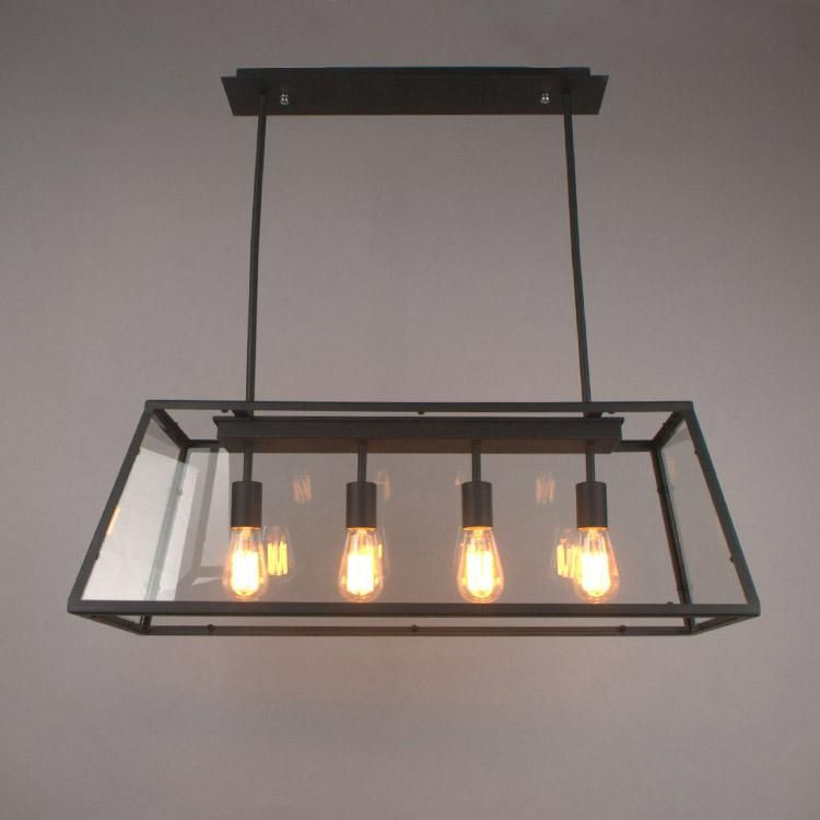 Pendant Lamp Retro American Industrial Black Iron Glass Rectangular Chandelier Living Room Dining Light New