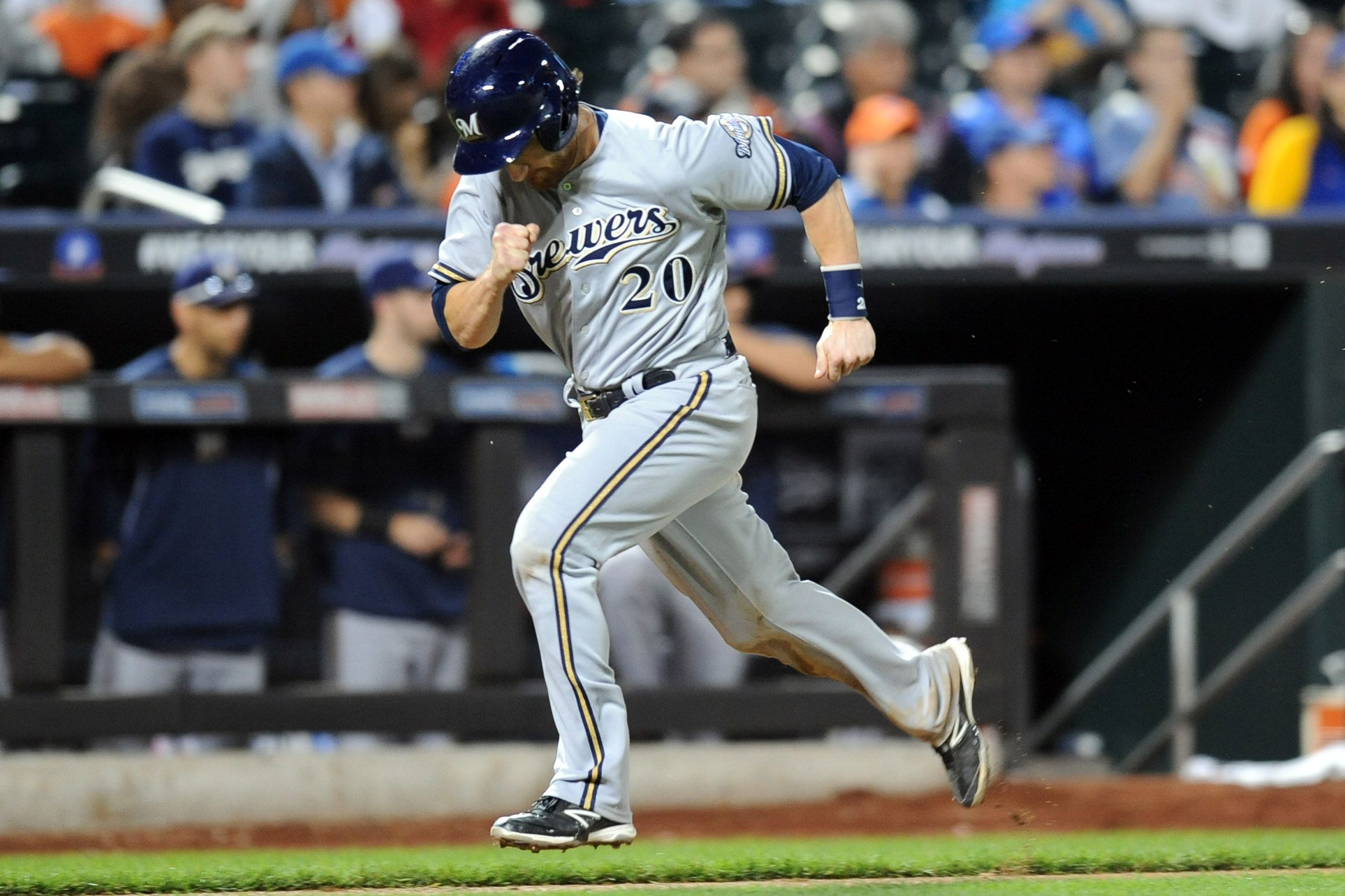 Crowdcam Hot Shot Milwaukee Brewers Catcher Jonathan Lucroy Heads Home After Tagging Up At Third Base After Being D New York Mets Third Base Milwaukee Brewers