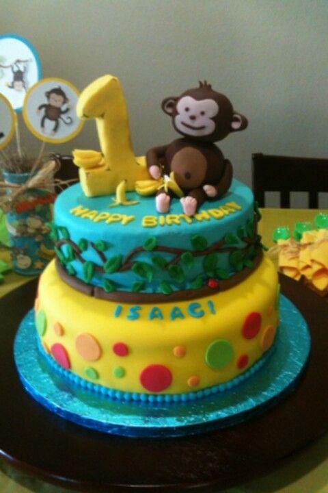 Sensational Monkey 1St Birthday Cake Isaacs First Birthday Cake With Personalised Birthday Cards Veneteletsinfo