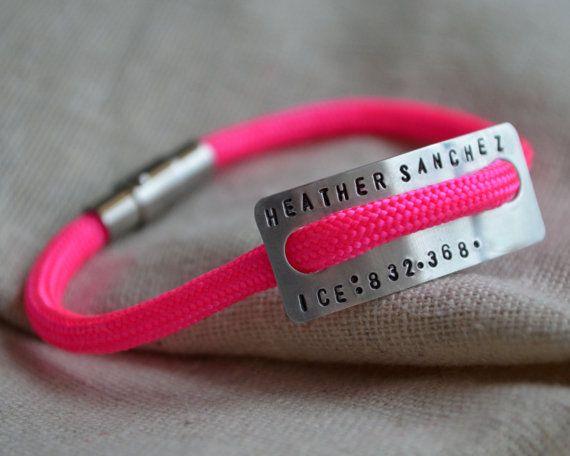Runner Id Bracelet Hand Stamped Personalize Marathon Triathlon