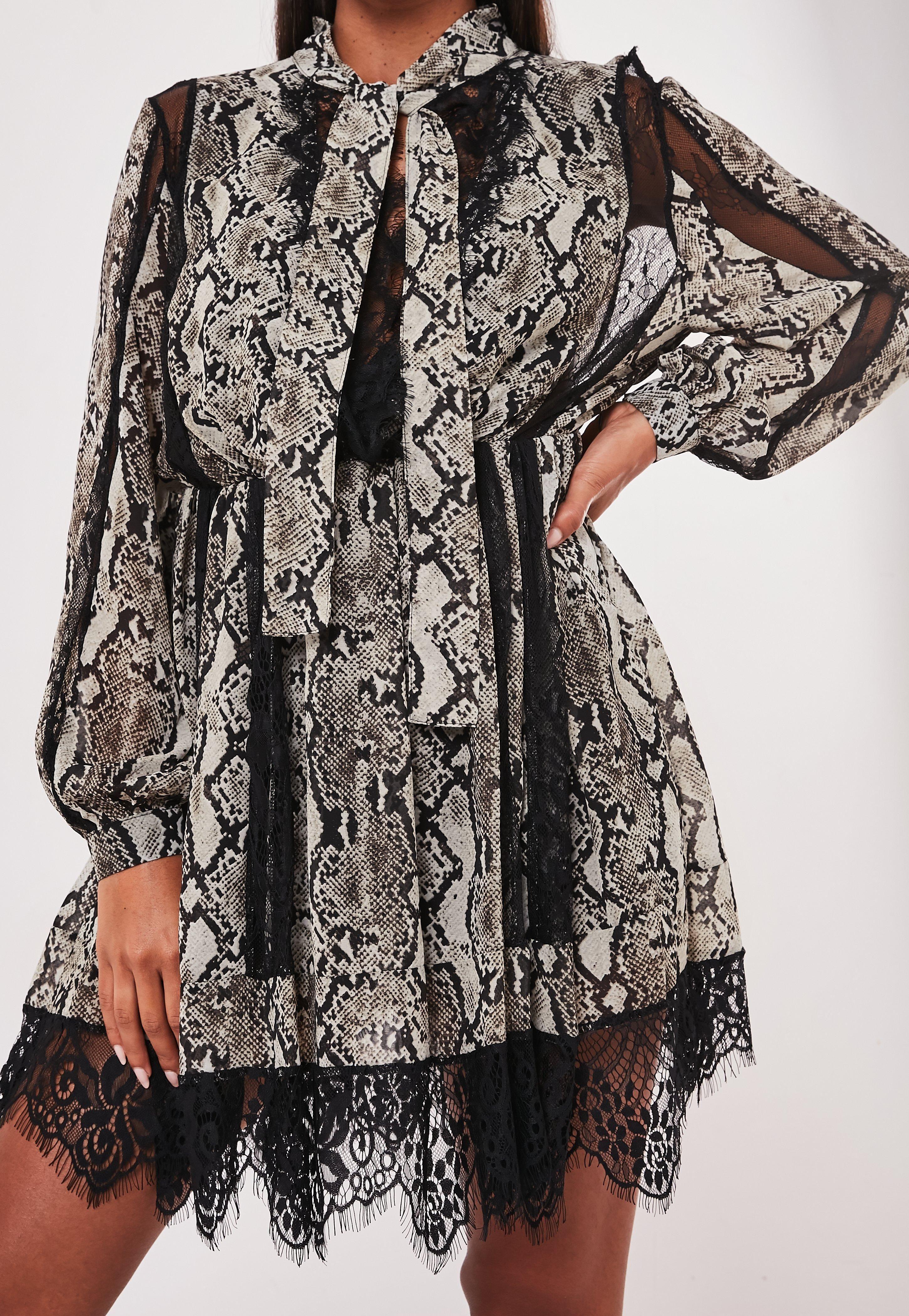 Missguided Gray Snake Print Chiffon Lace Trim Mini Dress Print Chiffon Mini Dress Long Sleeve Mini Dress [ 4200 x 2900 Pixel ]