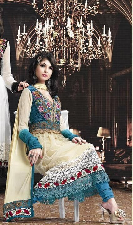 Cream Full Sleeve Georgette Anarkali Salwar Kameez 15823