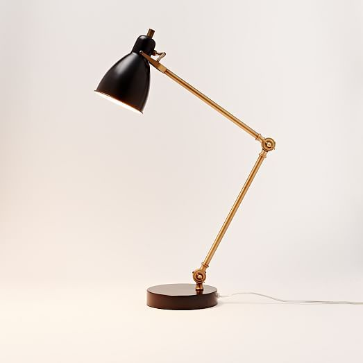 Industrial Task Table Lamp - Black + Antique Brass