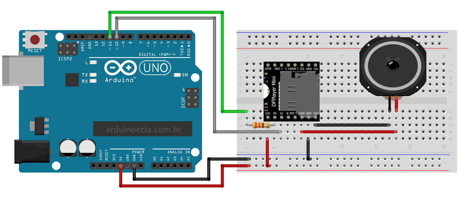 Como Usar O Mdulo Mp3 Dfplayer Mini Arduino Microcontrollers Circuit Picbasic Source Code Proteus Isis Simulation Schematic 433mhz Cnc Projects