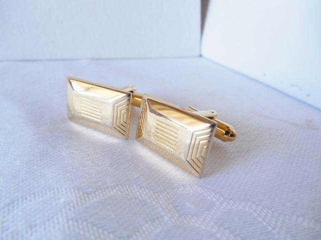 Vintage HICKOK USA Goldtone Lined Rectangle Cufflinks  J30 #Hickok