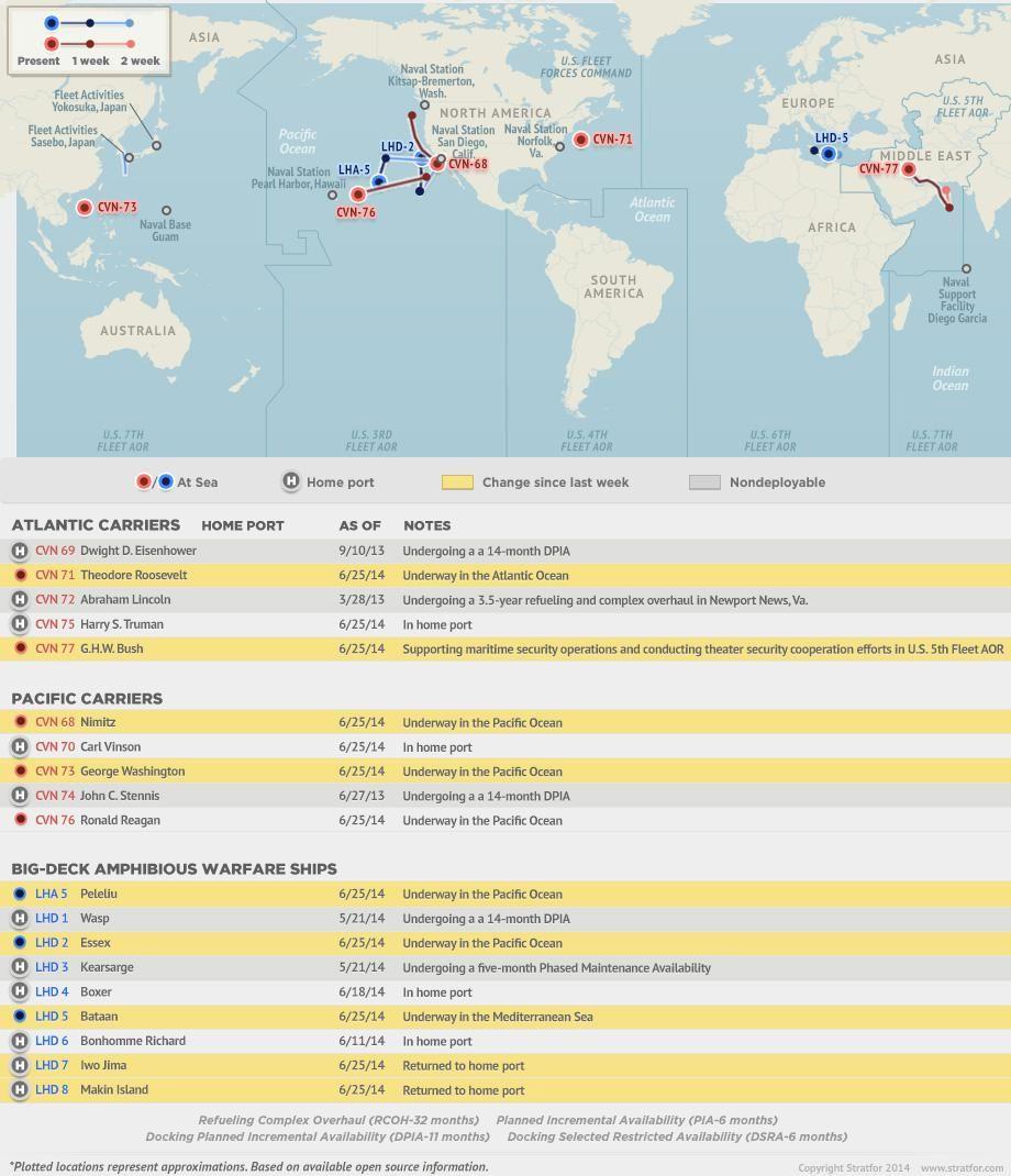 U.S. Naval Update Map: June 26, 2014   Carrier strike group