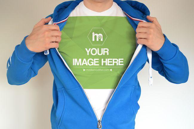 Download Man Showing T Shirt Under Hoodie Mockup Mediamodifier Online Mockup Generator Hoodie Mockup Clothing Mockup Hoodies