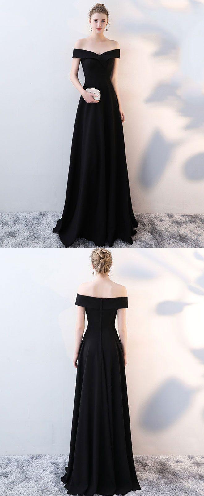 Simple black v neck long prom dress black evening dress in