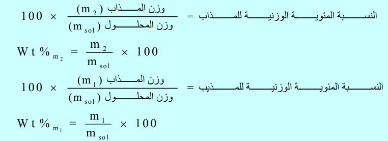 النسبة المئوية الوزنية للمذاب Weight Percentage Math Math Equations Weight