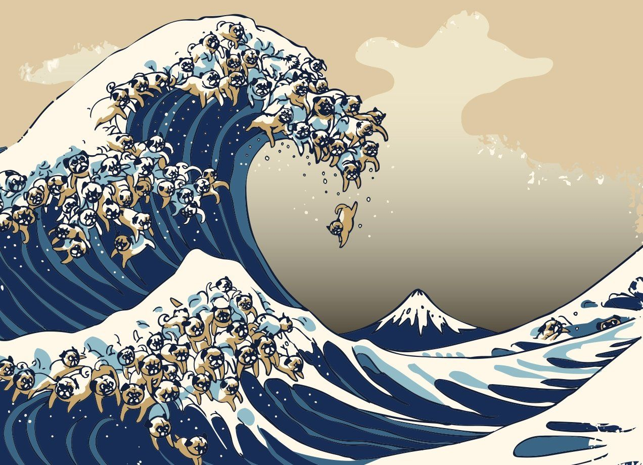 The Great Wave of Pug in 2020 Wave art, Waves wallpaper
