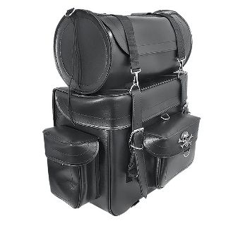 Two Piece Motorcycle Tour Pack with Metal Skull and crossbones