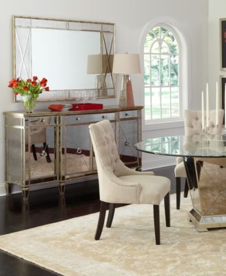 Marais Dining Room Furniture 5 Piece Set 54 Mirrored Table And 4