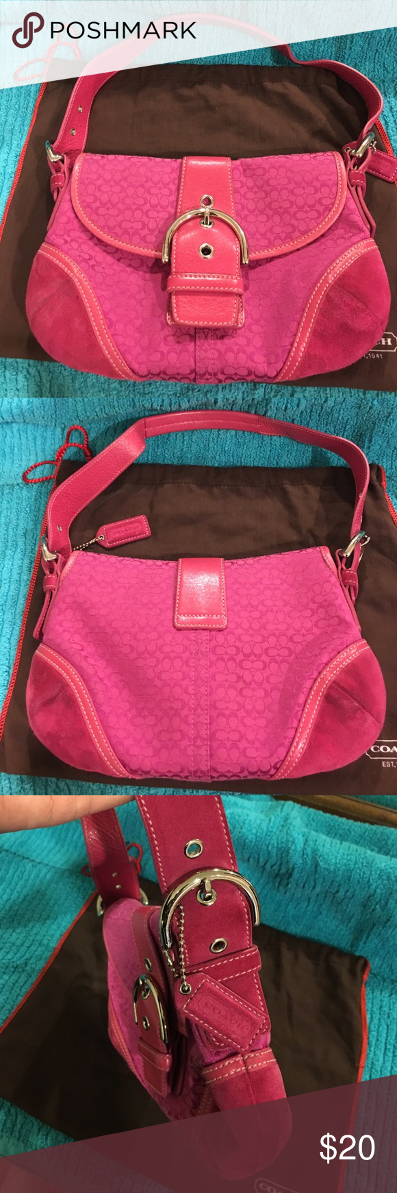 Coach Soho Signature Shoulder Bag #6818 Pink/Fuschia. Canvas. Leather straps. Suede edging. Silver Hardware w/ adjustable straps. Interior clean with two main compartments. The front compartment has a zippered pocket along with two pouches to offer optimal organization. The suede bottom corners have a light ware/dirt as pictured. Comes with original dust bag. Coach Bags Shoulder Bags