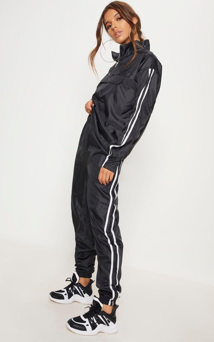 Black Contrast Sport Stripe Shell Cuff Jogger Cuffed