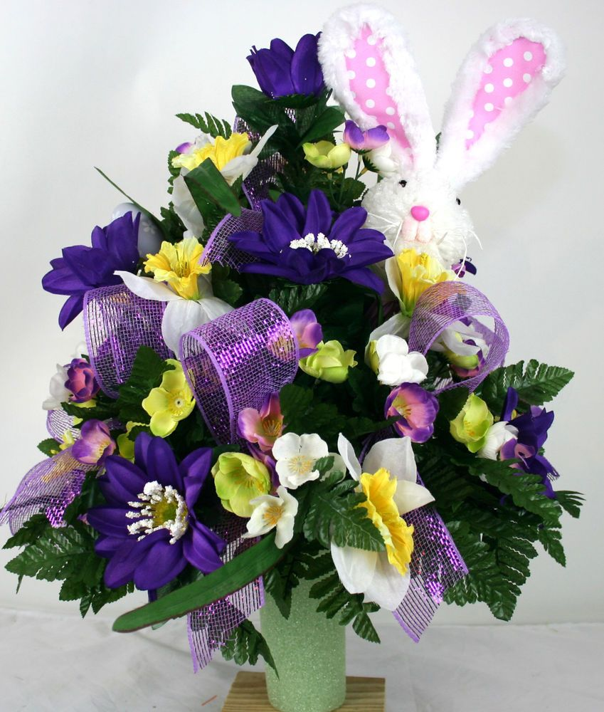 Easter Bunny Cemetery Flower Arrangement Featuring Purple Daisies