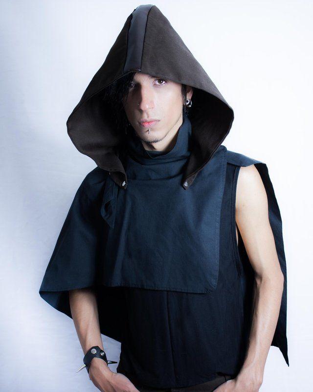 """Distopia Collection - Echarpe """"capa"""" com capuz destacável - Moda masculina, para homens com estilo alternativo"""