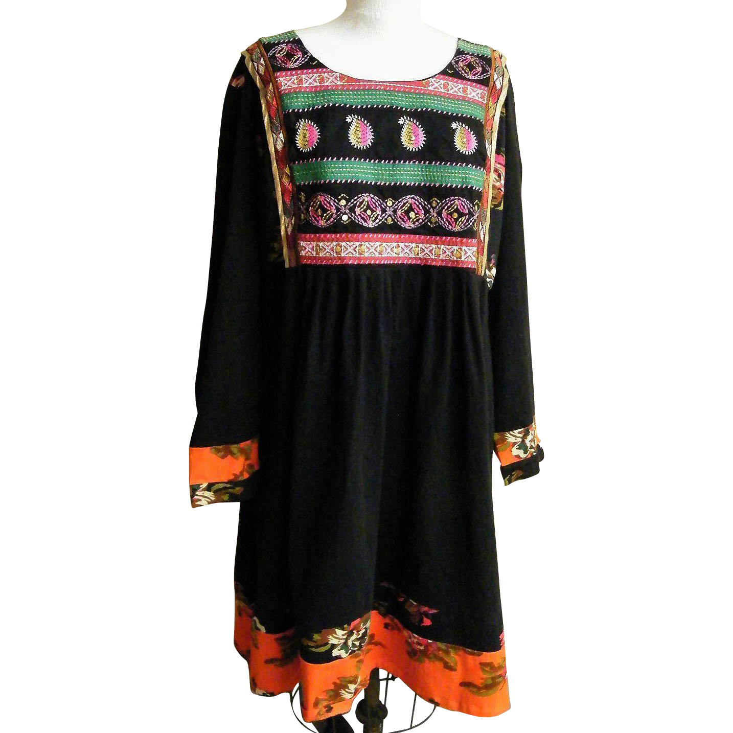 Ethnic peasant dress black cotton embroidered bib rose print inserts