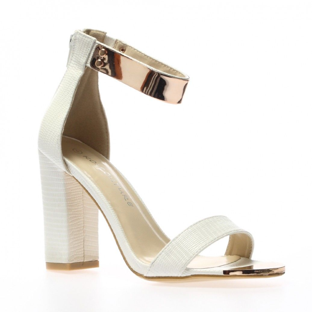Alexia White Ankle Cuff Sandals