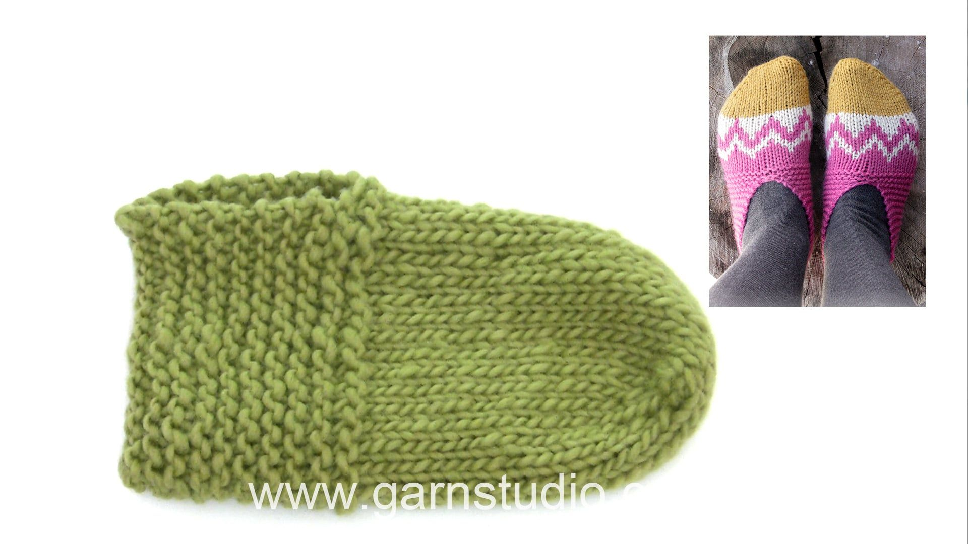 How to knit and assembly slippers in DROPS Extra 0-1247
