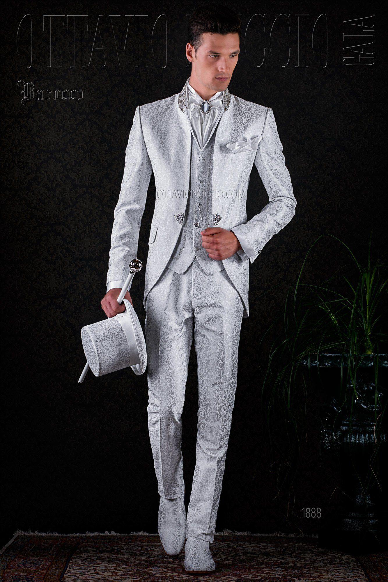 03b13ee422 Brocade white mandarin collar baroque tuxedo #wedding #groom #suit #vintage  #luxury #dapper #bespoke #italy