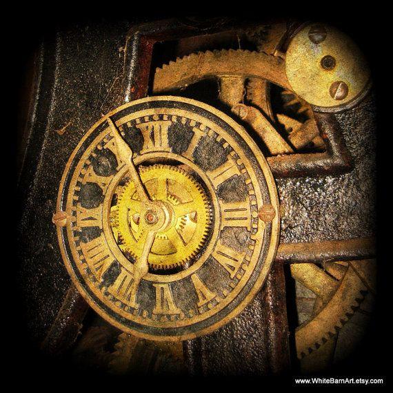 Steampunk Clock - 8x8 Fine Art Photography - Industrial Metal Decor ...