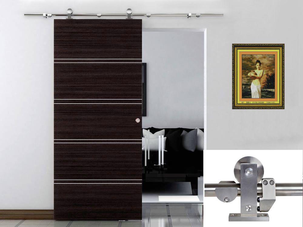 High Quality 6 6 Ft Modern Sliding Door Hardware Kit Stainless Steel Wood Barn Door Track  Set |