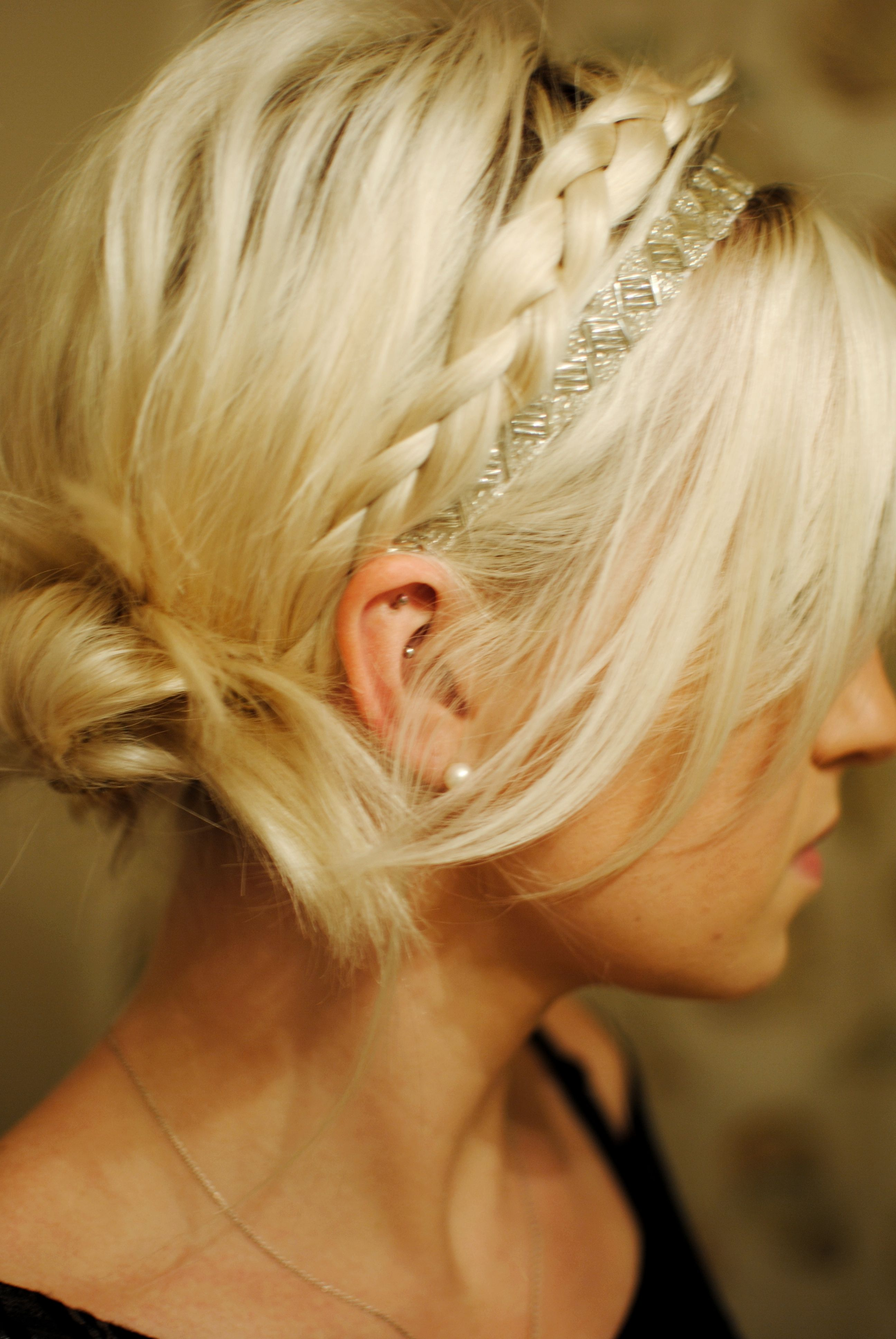 Braided Updo Simple And Pretty Perfect For A Special Night Out Or Black Tie Event Long Hair Styles Headband Hairstyles Braided Hairstyles Updo
