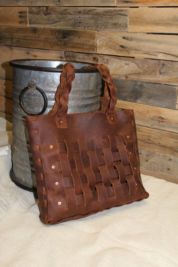 Woven Leather Tote Sista Bag Laced Braided Handles