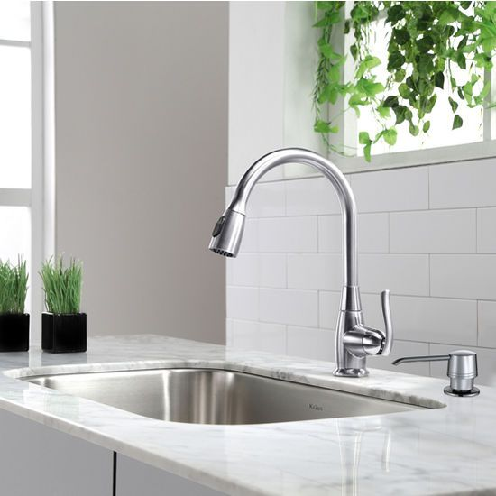 free shipping on kraus single lever pull out kitchen chrome faucet measuring 15 1 5 u0027 u0027h at kitchensource com    kitchen   pinterest   faucet chrome and     free shipping on kraus single lever pull out kitchen chrome faucet      rh   pinterest com