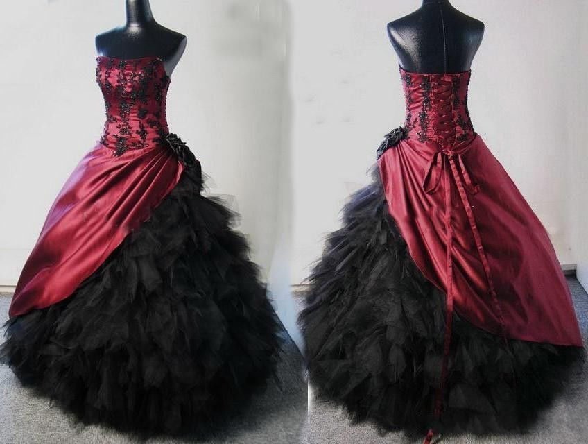New Burgundy Black Corset Ball Gown Victorian Gothic Bridal Gowns ...