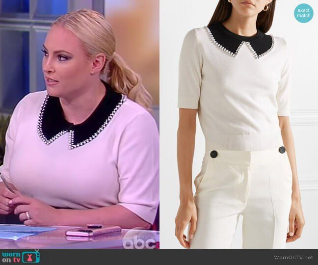 Meghan s white pearl embellished collar sweater on The View. Outfit  Details  https   4e3748a4d