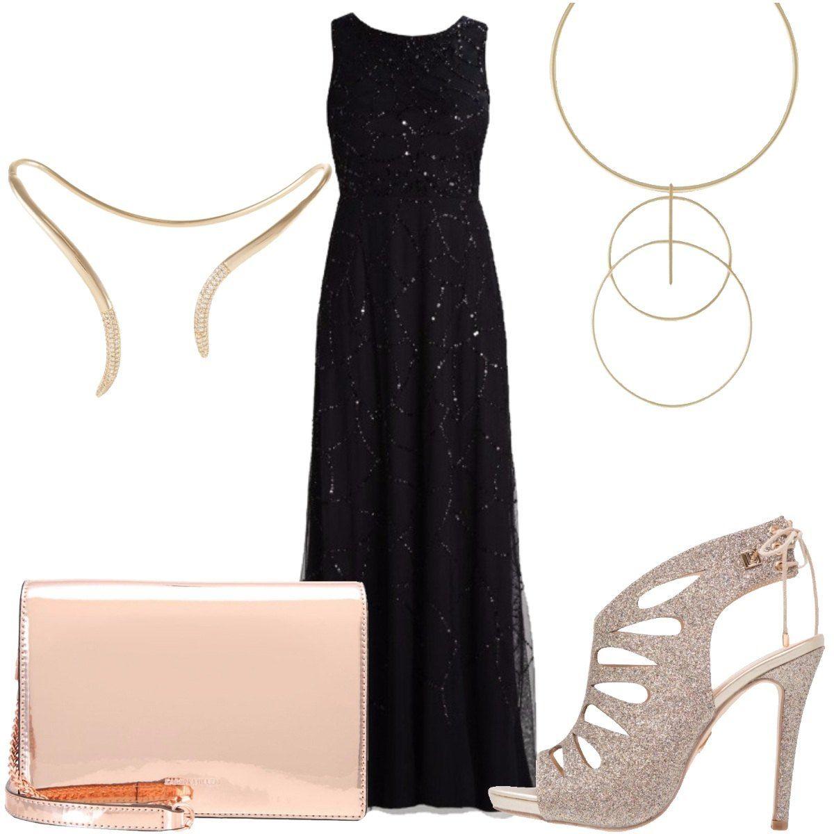 Outfit elegante composto da abito nero lungo con paillettes e schiena  scoperta 6a46c475247